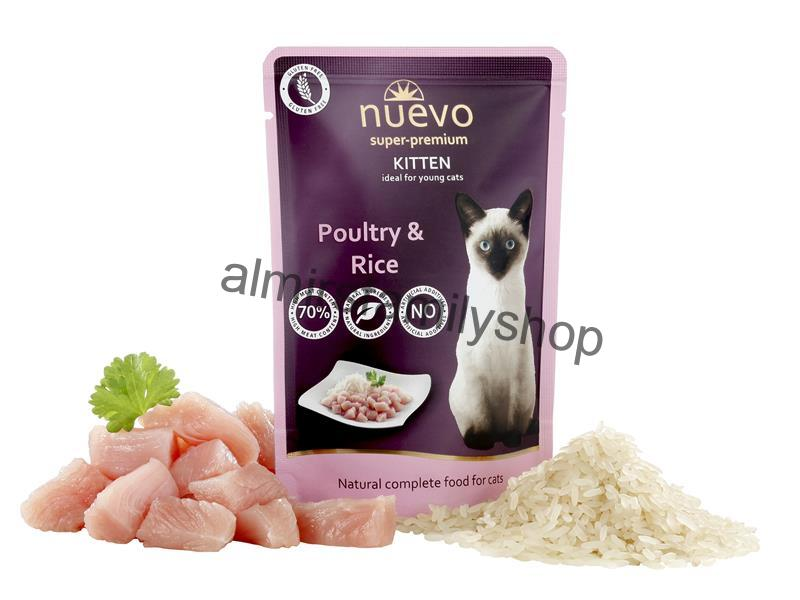 NUEVO cat Kitten Poultry with Rice 85 g kapsička