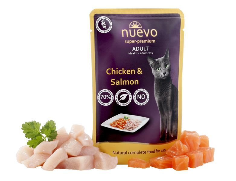 NUEVO cat Adult Chicken & Salmon 85 g kapsička